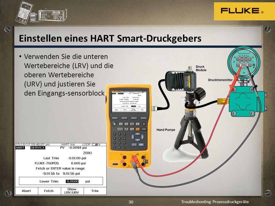 Troubleshooting Prozessdruckgeräte 30 Einstellen eines HART Smart-Druckgebers Verwenden Sie die unteren Wertebereiche (LRV) und die oberen Wertebereic