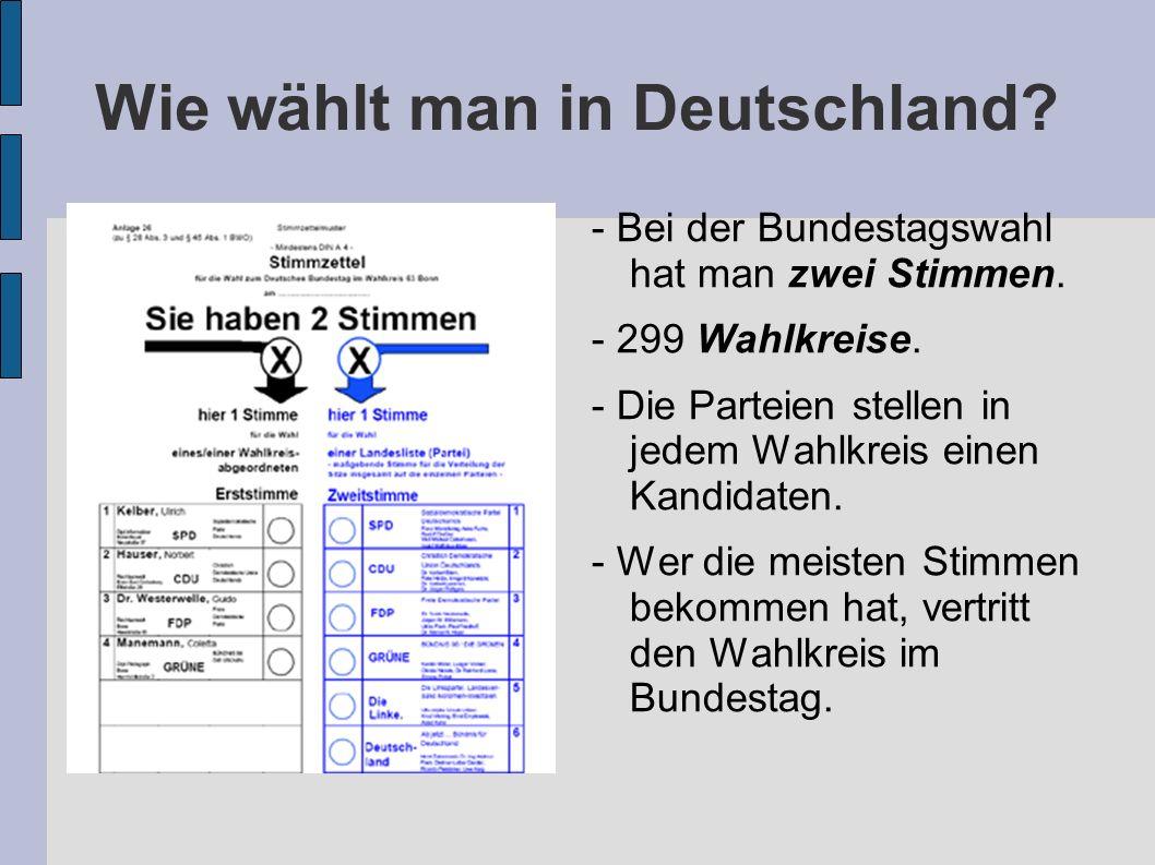 Wie wählt man in Deutschland.- Bei der Bundestagswahl hat man zwei Stimmen.