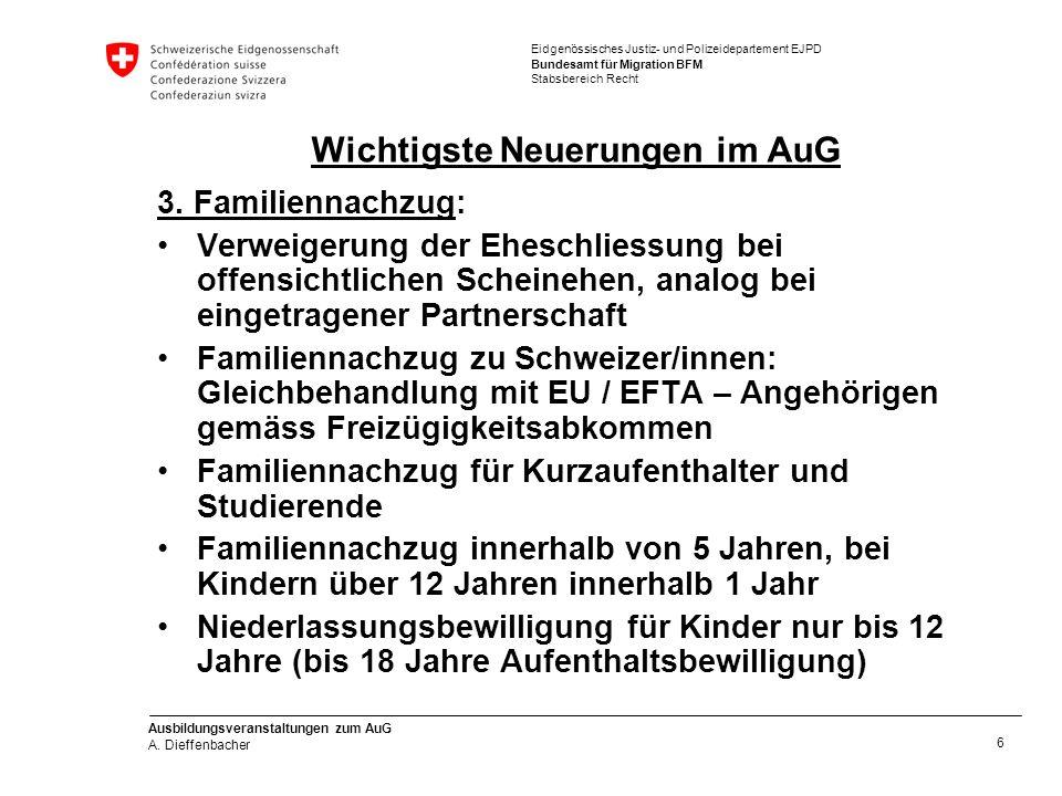 Eidgenössisches Justiz- und Polizeidepartement EJPD Bundesamt für Migration BFM Stabsbereich Recht Ausbildungsveranstaltungen zum AuG A.