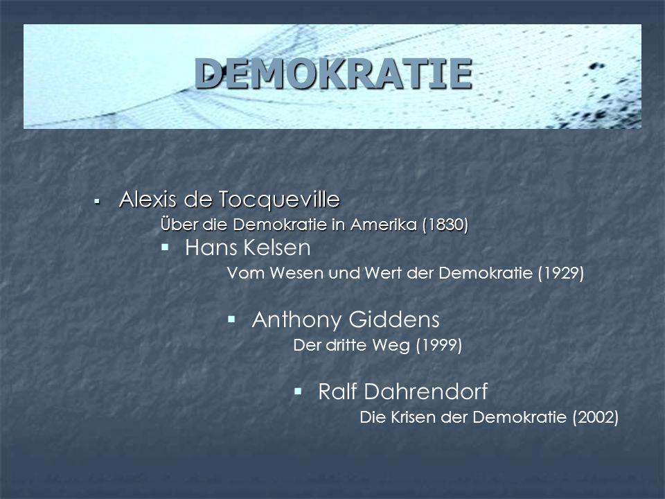 DEMOKRATIE Alexis de Tocqueville Alexis de Tocqueville Über die Demokratie in Amerika (1830) Hans Kelsen Vom Wesen und Wert der Demokratie (1929) Anth