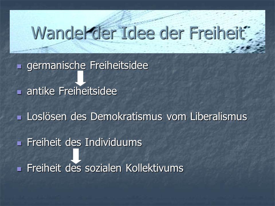 Wandel der Idee der Freiheit germanische Freiheitsidee germanische Freiheitsidee antike Freiheitsidee antike Freiheitsidee Loslösen des Demokratismus