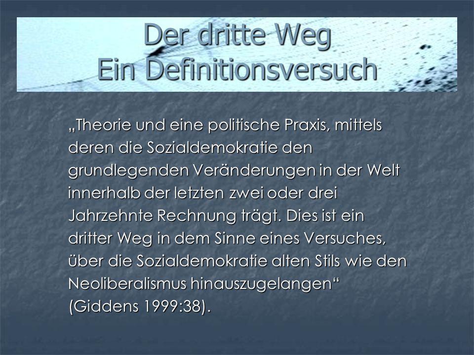 Der dritte Weg Ein Definitionsversuch Theorie und eine politische Praxis, mittels deren die Sozialdemokratie den grundlegenden Veränderungen in der We