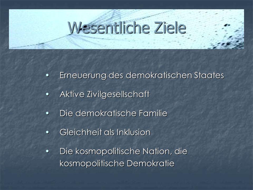 Wesentliche Ziele Erneuerung des demokratischen StaatesErneuerung des demokratischen Staates Aktive ZivilgesellschaftAktive Zivilgesellschaft Die demo