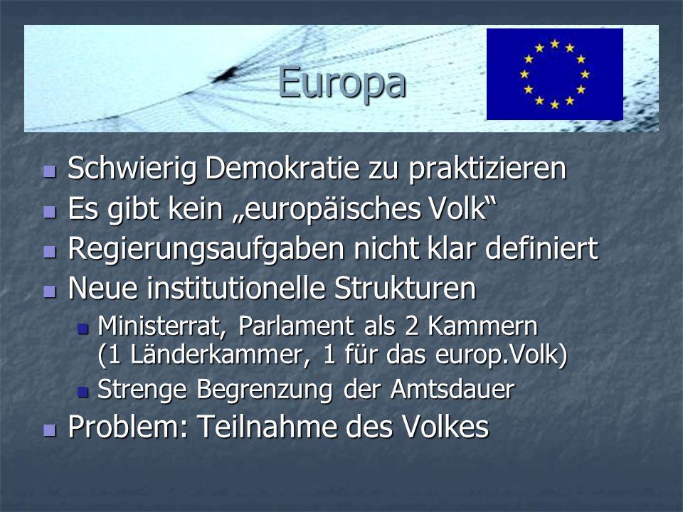 Europa Schwierig Demokratie zu praktizieren Schwierig Demokratie zu praktizieren Es gibt kein europäisches Volk Es gibt kein europäisches Volk Regieru