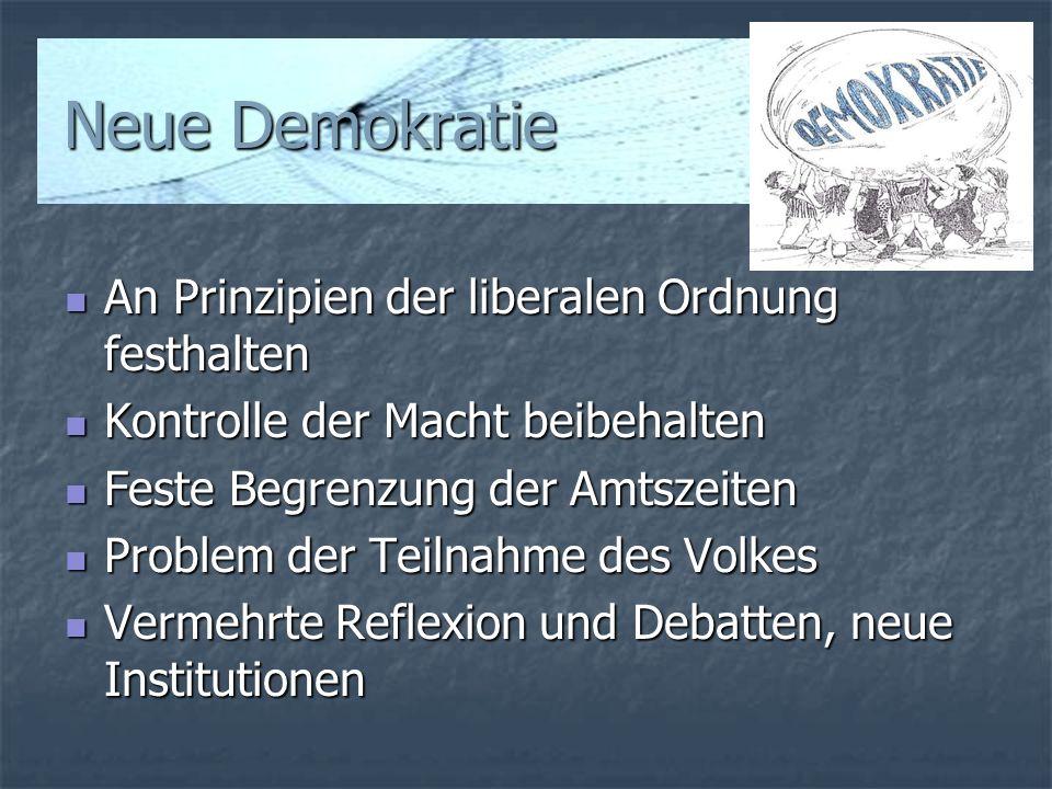Neue Demokratie An Prinzipien der liberalen Ordnung festhalten An Prinzipien der liberalen Ordnung festhalten Kontrolle der Macht beibehalten Kontroll