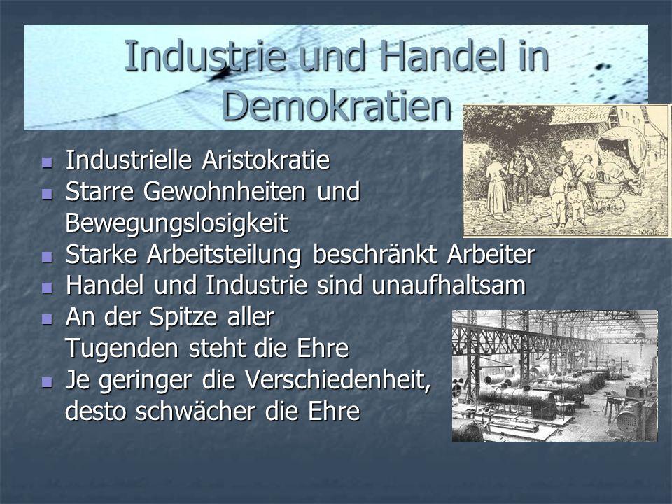 Industrie und Handel in Demokratien Industrielle Aristokratie Industrielle Aristokratie Starre Gewohnheiten und Starre Gewohnheiten und Bewegungslosig