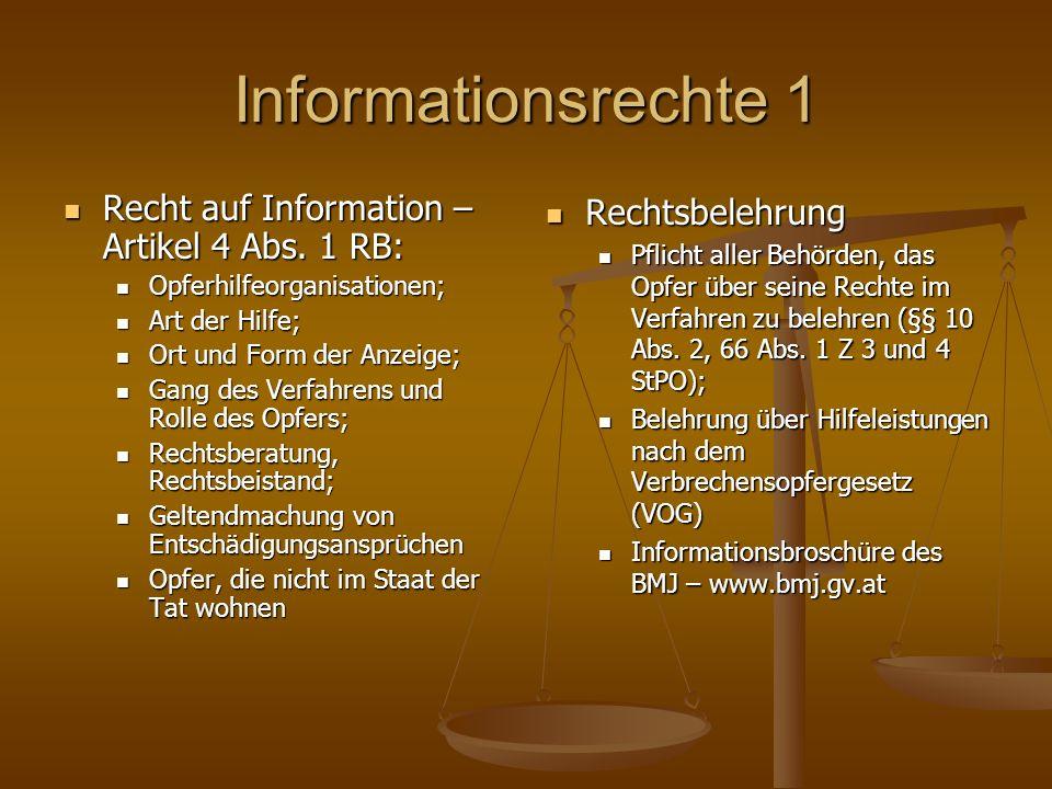 Informationsrechte 1 Recht auf Information – Artikel 4 Abs.