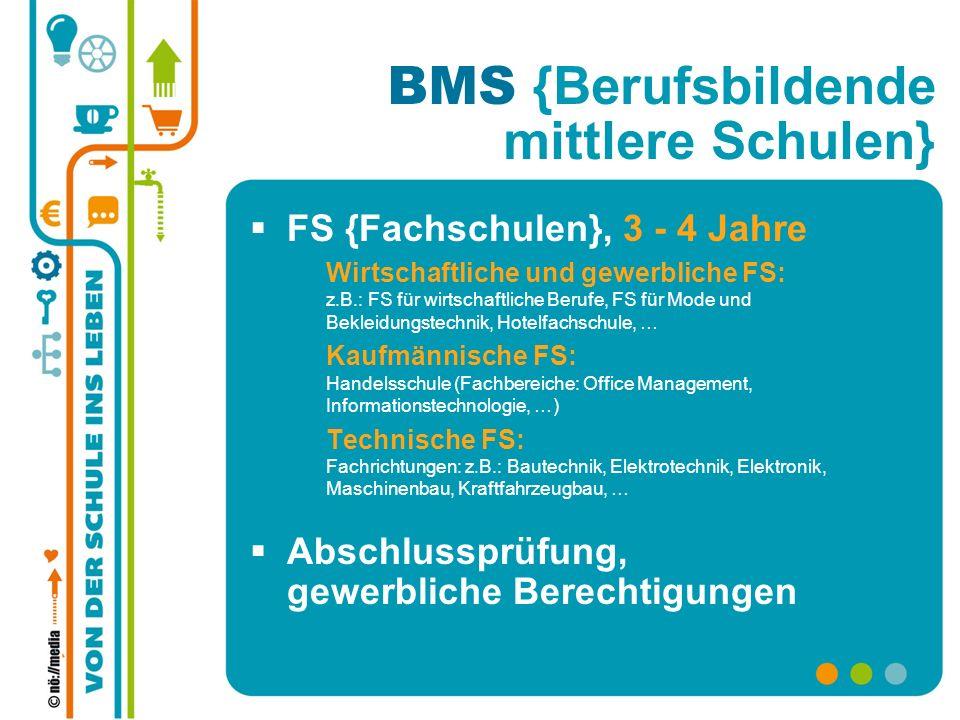 BMS {Berufsbildende mittlere Schulen} FS {Fachschulen}, 3 - 4 Jahre Wirtschaftliche und gewerbliche FS: z.B.: FS für wirtschaftliche Berufe, FS für Mo