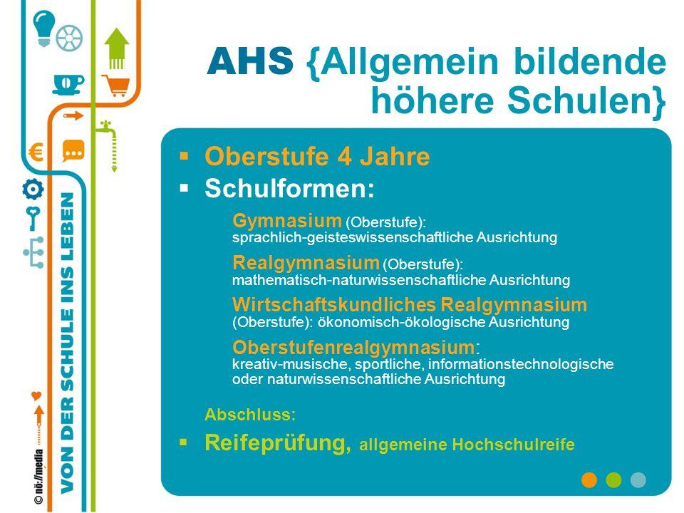 AHS {Allgemein bildende höhere Schulen} Oberstufe 4 Jahre Schulformen: Gymnasium (Oberstufe): sprachlich-geisteswissenschaftliche Ausrichtung Realgymn