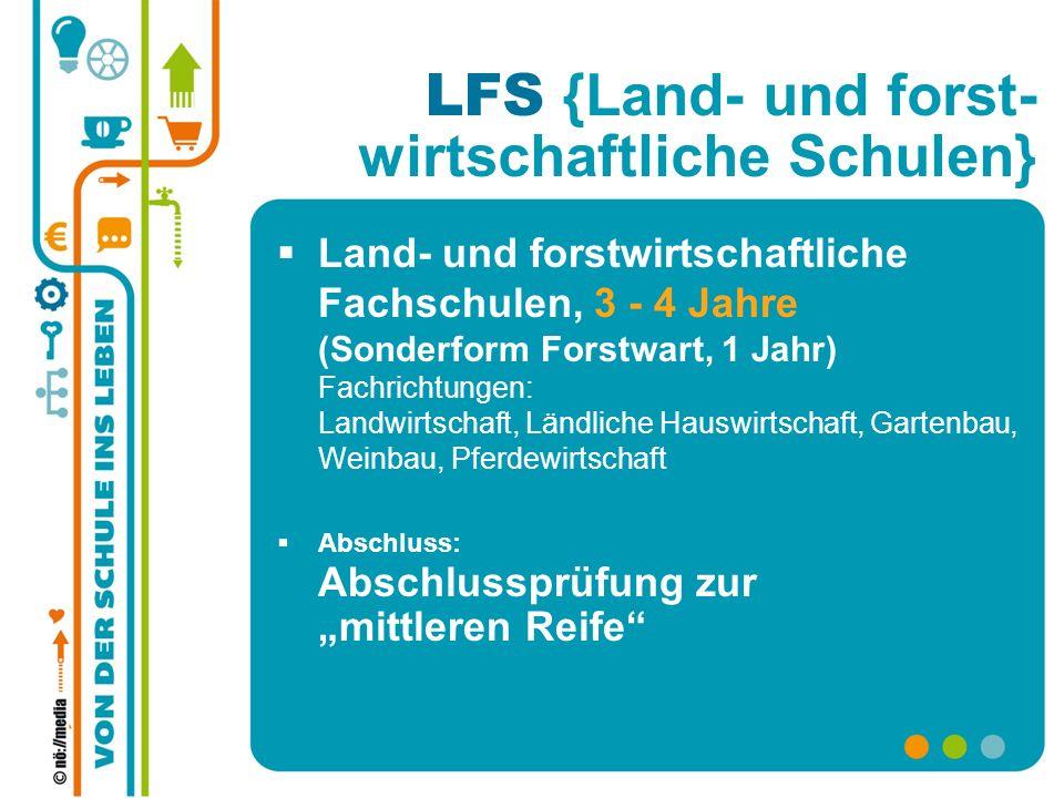 LFS {Land- und forst- wirtschaftliche Schulen} Land- und forstwirtschaftliche Fachschulen, 3 - 4 Jahre (Sonderform Forstwart, 1 Jahr) Fachrichtungen: