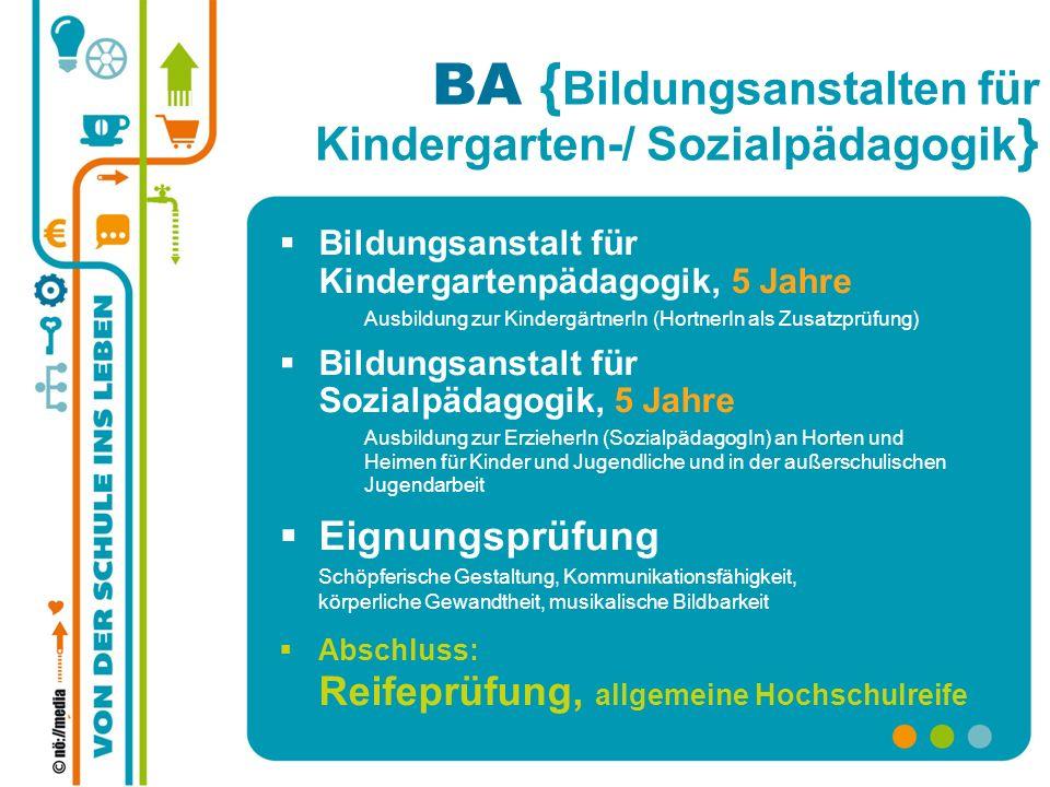 BA { Bildungsanstalten für Kindergarten-/ Sozialpädagogik } Bildungsanstalt für Kindergartenpädagogik, 5 Jahre Ausbildung zur KindergärtnerIn (Hortner