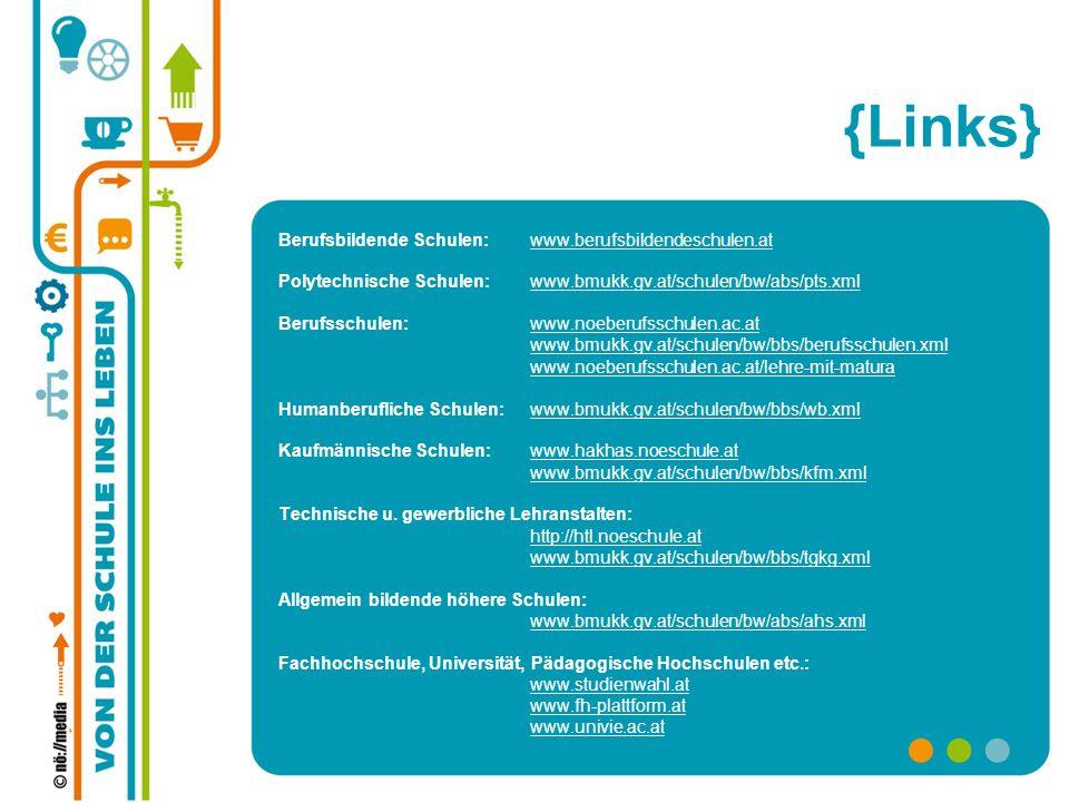 {Links} Berufsbildende Schulen: www.berufsbildendeschulen.atwww.berufsbildendeschulen.at Polytechnische Schulen: www.bmukk.gv.at/schulen/bw/abs/pts.xm
