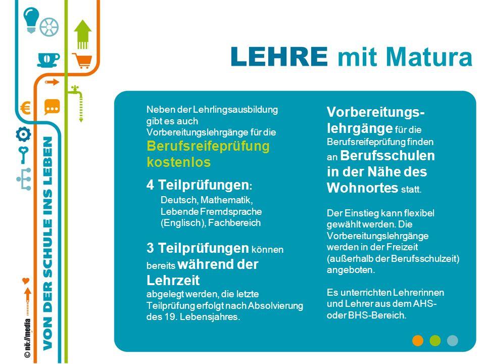 Neben der Lehrlingsausbildung gibt es auch Vorbereitungslehrgänge für die Berufsreifeprüfung kostenlos 4 Teilprüfungen : Deutsch, Mathematik, Lebende