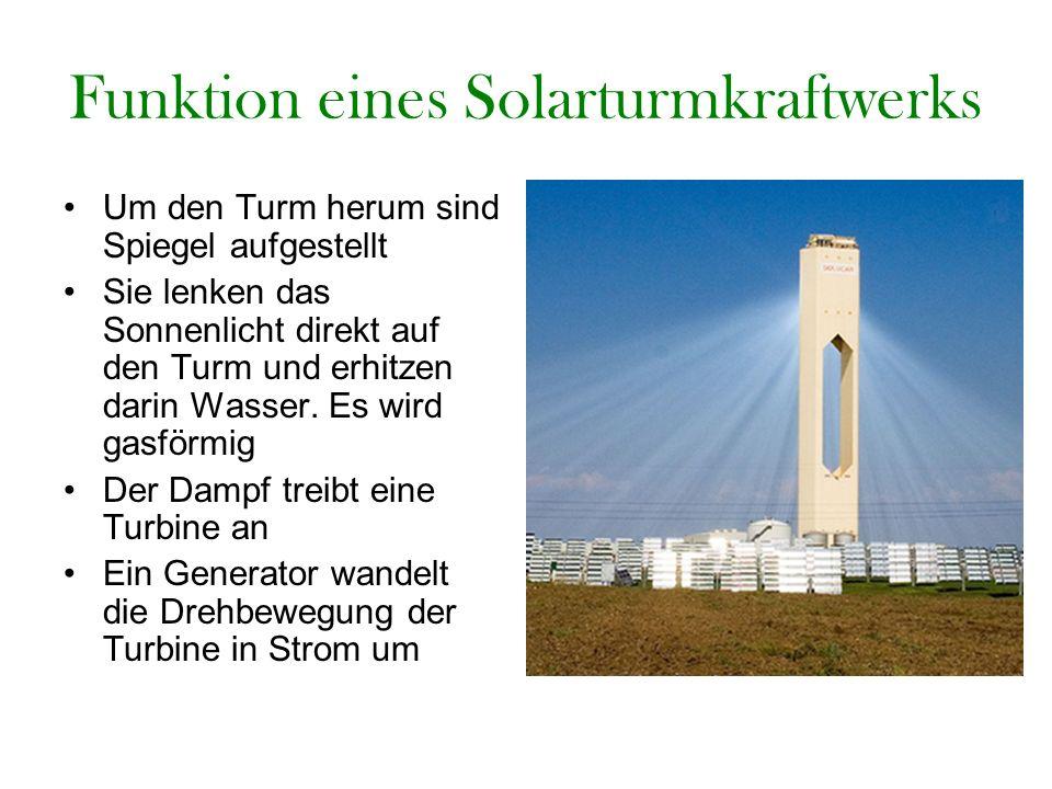 Funktion eines Solarturmkraftwerks Um den Turm herum sind Spiegel aufgestellt Sie lenken das Sonnenlicht direkt auf den Turm und erhitzen darin Wasser