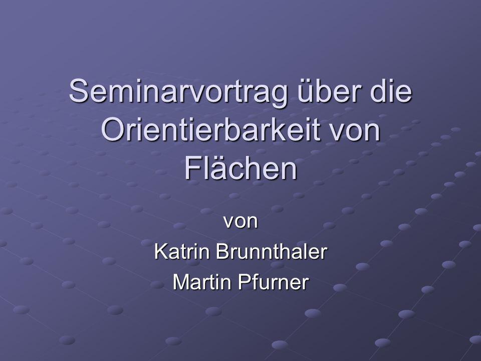 Seminarvortrag über die Orientierbarkeit von Flächen von Katrin Brunnthaler Martin Pfurner