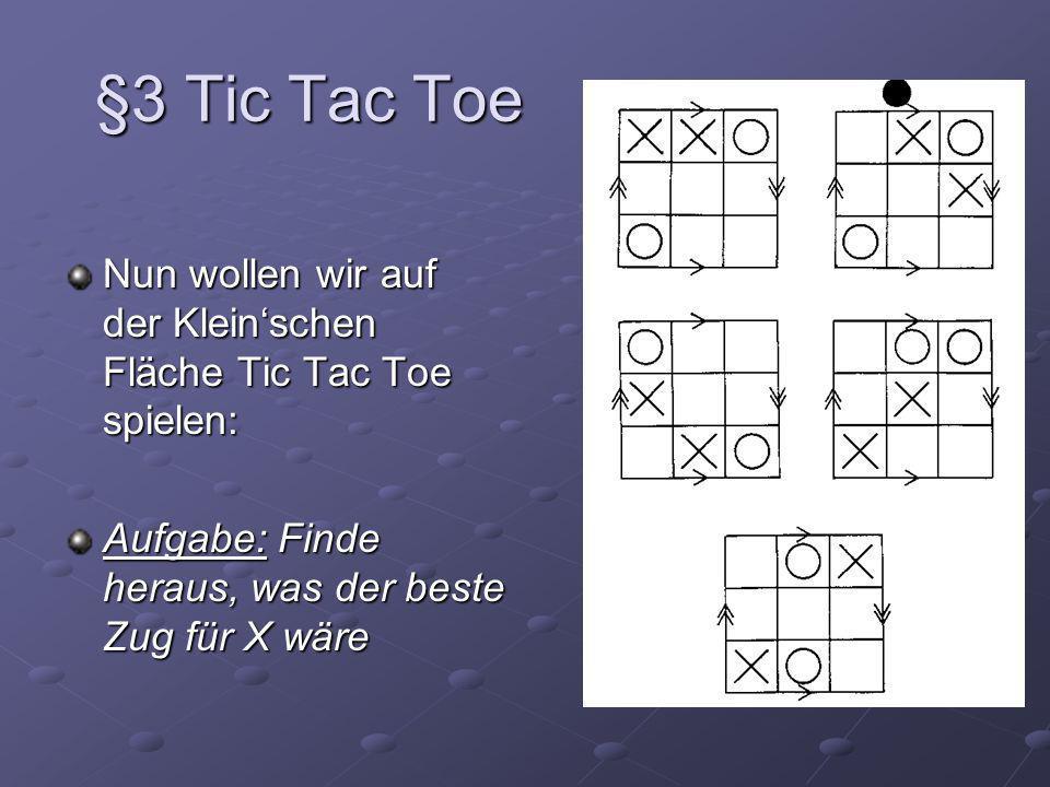 §3 Tic Tac Toe Nun wollen wir auf der Kleinschen Fläche Tic Tac Toe spielen: Aufgabe: Finde heraus, was der beste Zug für X wäre