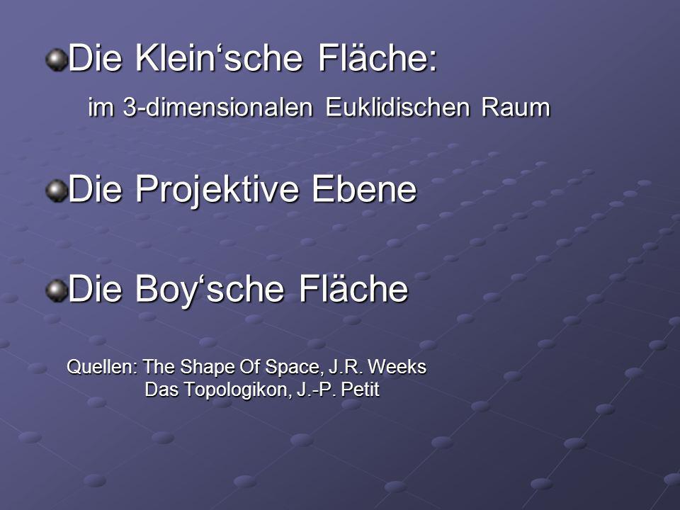 Die Kleinsche Fläche: im 3-dimensionalen Euklidischen Raum Die Projektive Ebene Die Boysche Fläche Quellen: The Shape Of Space, J.R. Weeks Das Topolog