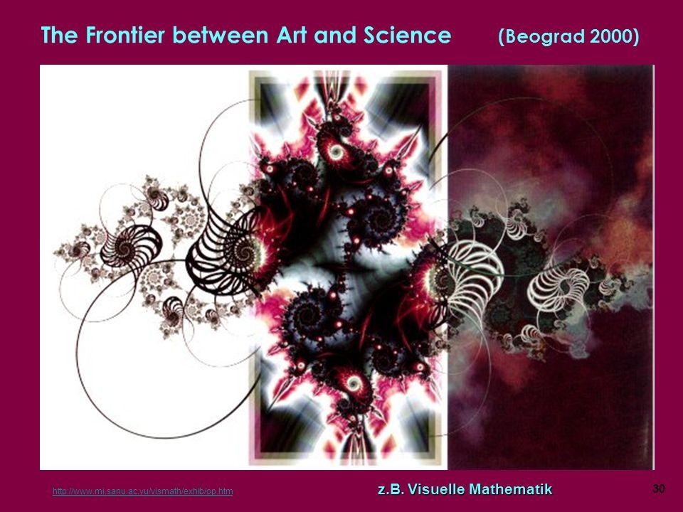 30 The Frontier between Art and Science (Beograd 2000) z.B.Visuelle Mathematik http://www.mi.sanu.ac.yu/vismath/exhib/op.htm z.B. Visuelle Mathematik