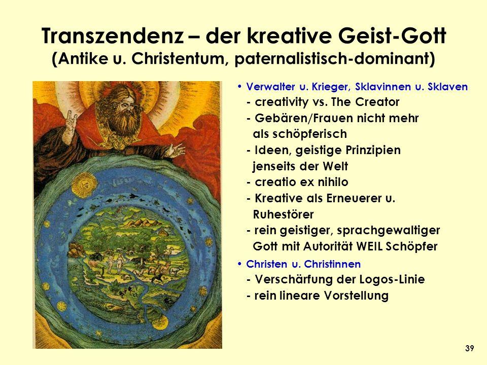 39 Transzendenz – der kreative Geist-Gott (Antike u. Christentum, paternalistisch-dominant) Verwalter u. Krieger, Sklavinnen u. Sklaven - creativity v