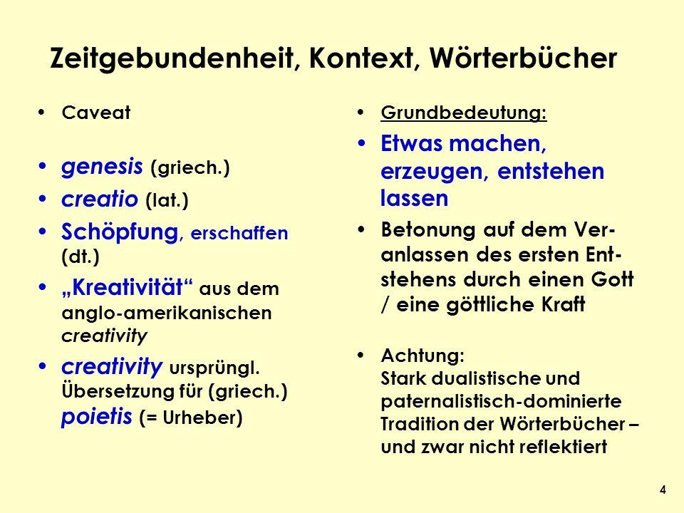 4 Zeitgebundenheit, Kontext, Wörterbücher Caveat genesis (griech.) creatio (lat.) Schöpfung, erschaffen (dt.) Kreativität aus dem anglo-amerikanischen