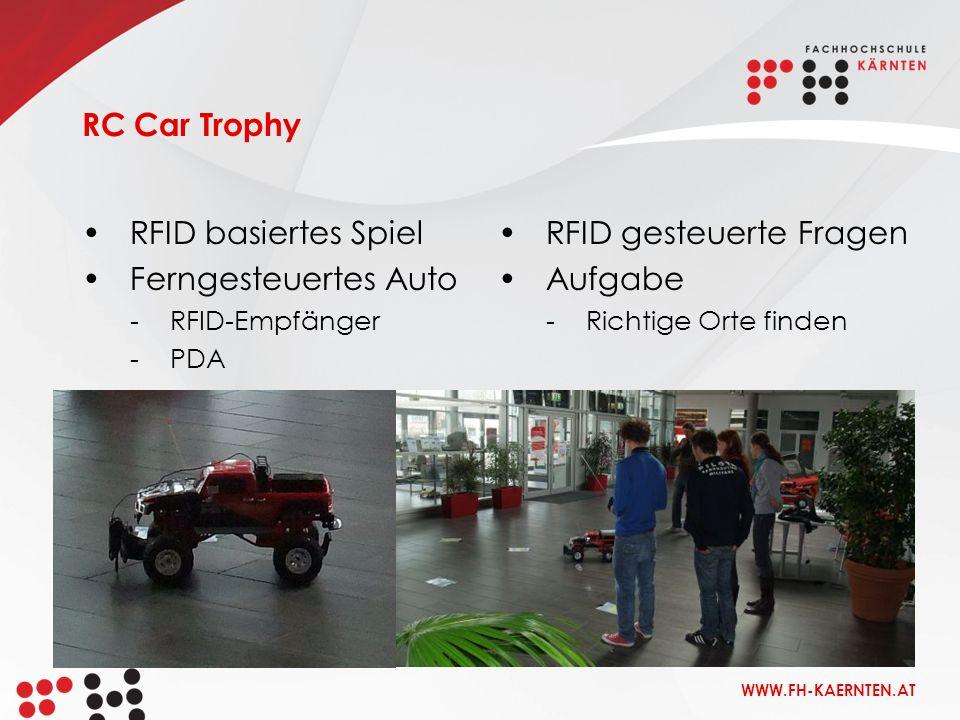 WWW.FH-KAERNTEN.AT RC Car Trophy RFID basiertes Spiel Ferngesteuertes Auto -RFID-Empfänger -PDA RFID gesteuerte Fragen Aufgabe -Richtige Orte finden