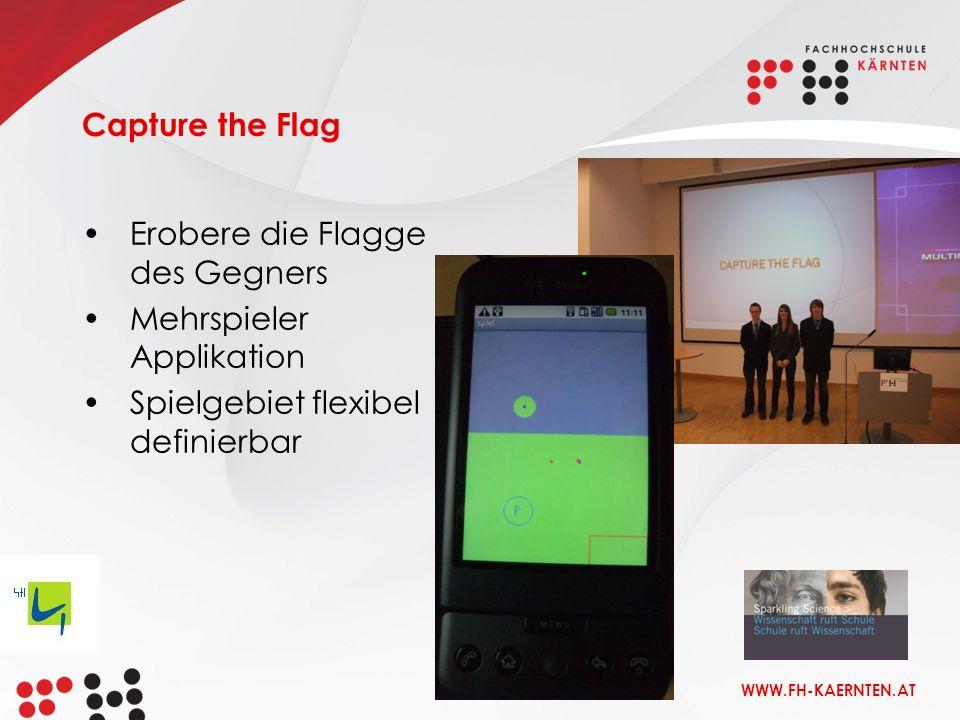 WWW.FH-KAERNTEN.AT Erobere die Flagge des Gegners Mehrspieler Applikation Spielgebiet flexibel definierbar Capture the Flag
