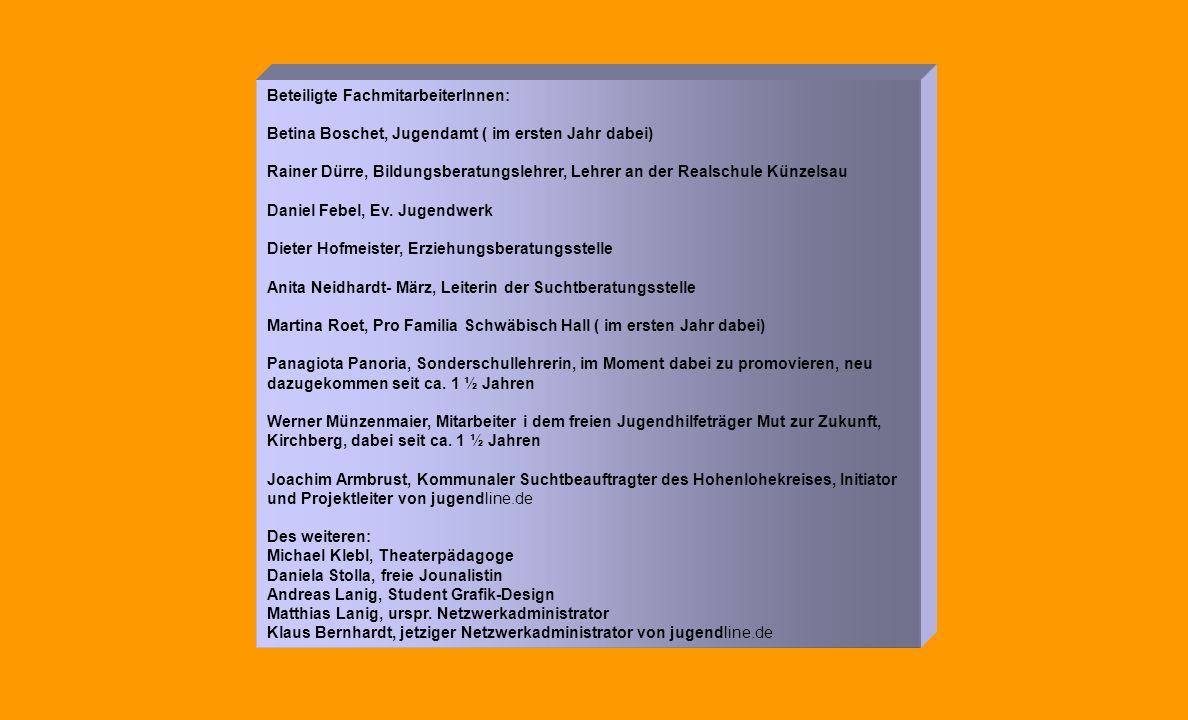 Beteiligte FachmitarbeiterInnen: Betina Boschet, Jugendamt ( im ersten Jahr dabei) Rainer Dürre, Bildungsberatungslehrer, Lehrer an der Realschule Künzelsau Daniel Febel, Ev.