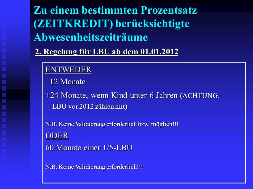 Zu einem bestimmten Prozentsatz (ZEITKREDIT) berücksichtigte Abwesenheitszeiträume 2. Regelung für LBU ab dem 01.01.2012 ENTWEDER 12 Monate 12 Monate
