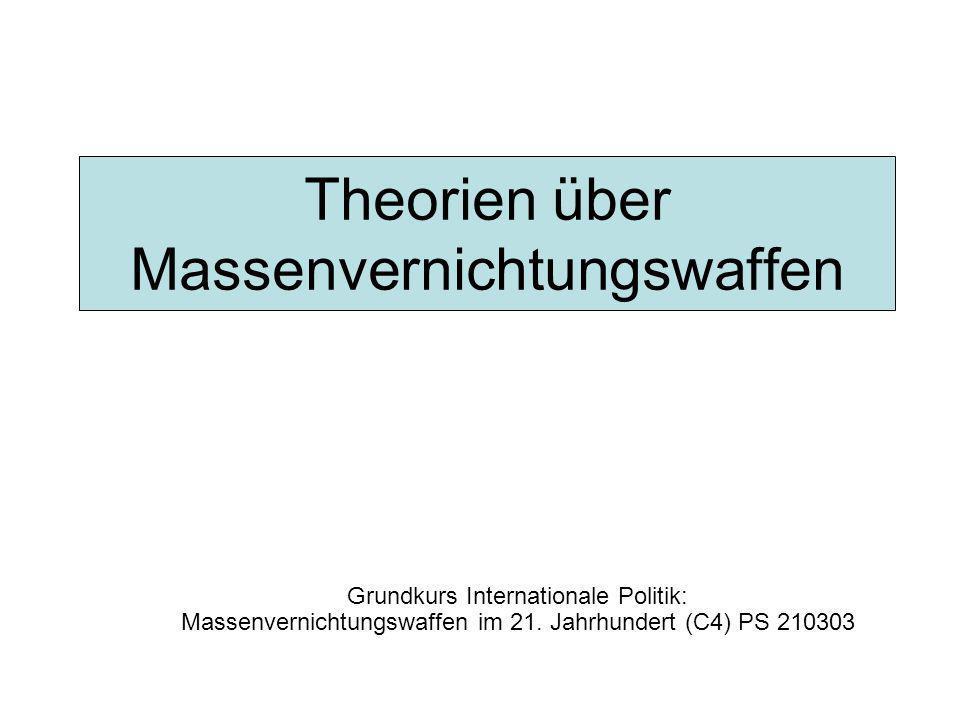 Theorien über Massenvernichtungswaffen Grundkurs Internationale Politik: Massenvernichtungswaffen im 21. Jahrhundert (C4) PS 210303