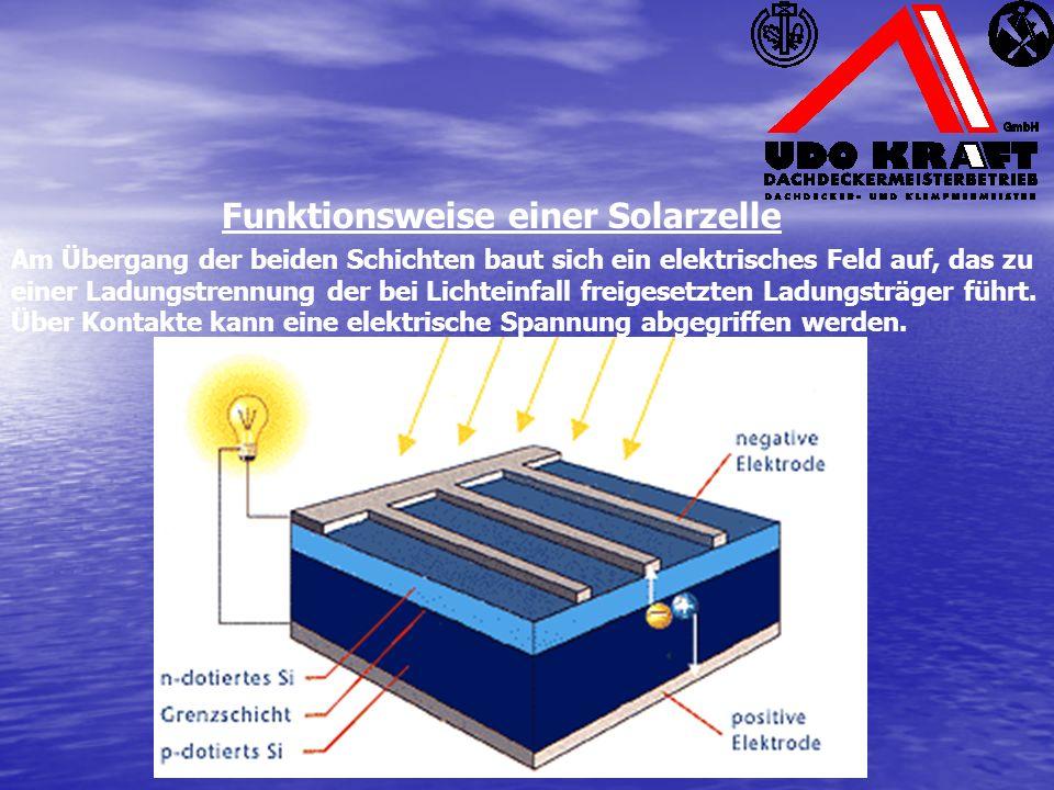 Am Übergang der beiden Schichten baut sich ein elektrisches Feld auf, das zu einer Ladungstrennung der bei Lichteinfall freigesetzten Ladungsträger führt.
