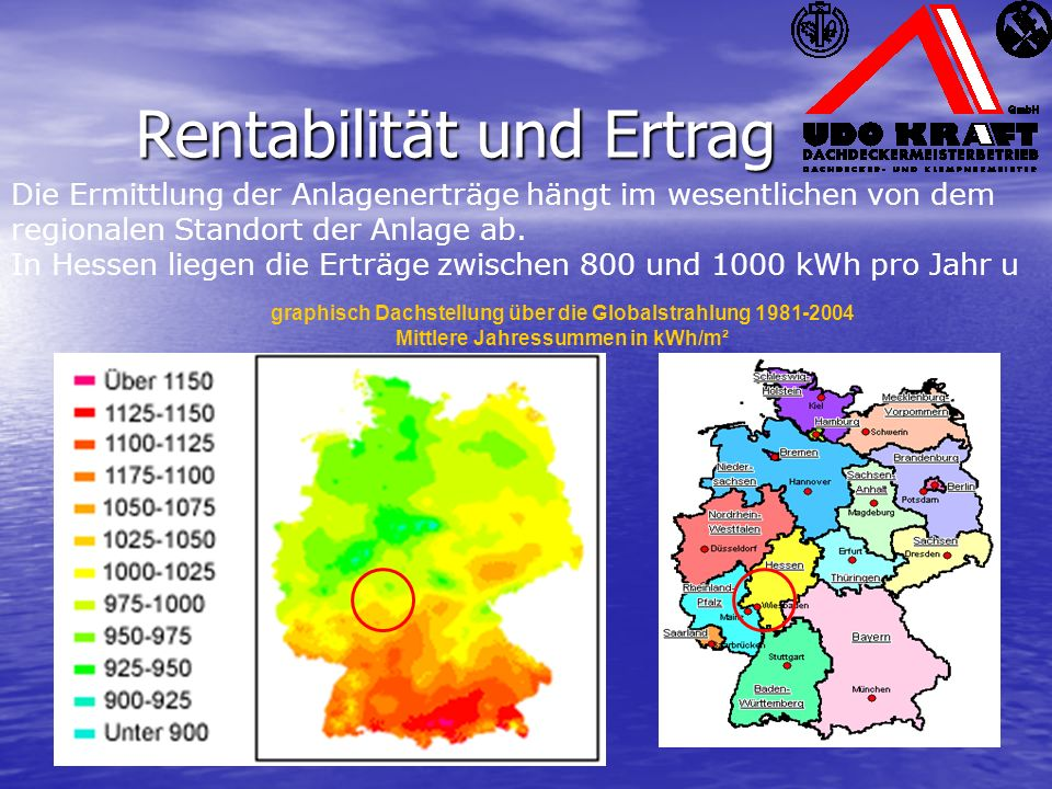Die Ermittlung der Anlagenerträge hängt im wesentlichen von dem regionalen Standort der Anlage ab. In Hessen liegen die Erträge zwischen 800 und 1000