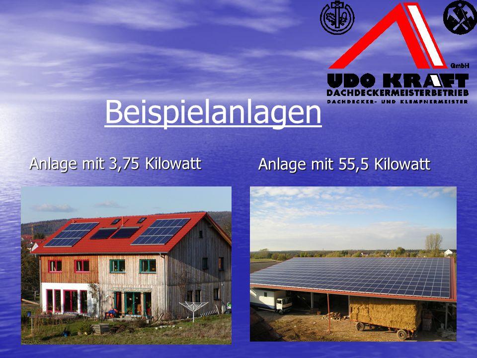 Anlage mit 3,75 Kilowatt Anlage mit 55,5 Kilowatt Beispielanlagen