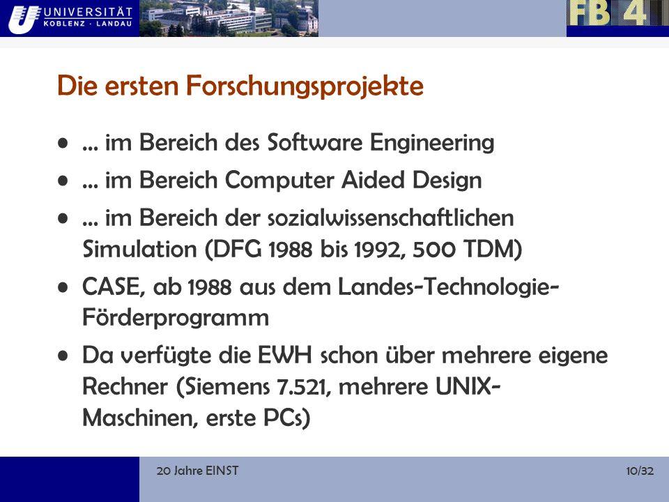 20 Jahre EINST10/32 Die ersten Forschungsprojekte … im Bereich des Software Engineering … im Bereich Computer Aided Design … im Bereich der sozialwissenschaftlichen Simulation (DFG 1988 bis 1992, 500 TDM) CASE, ab 1988 aus dem Landes-Technologie- Förderprogramm Da verfügte die EWH schon über mehrere eigene Rechner (Siemens 7.521, mehrere UNIX- Maschinen, erste PCs)