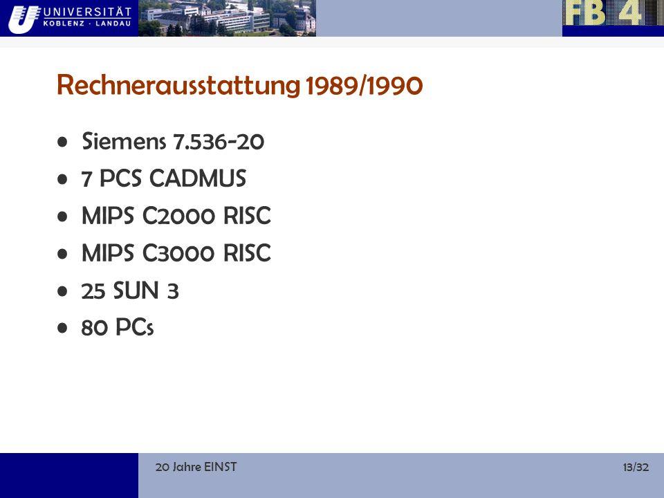 20 Jahre EINST13/32 Rechnerausstattung 1989/1990 Siemens 7.536-20 7 PCS CADMUS MIPS C2000 RISC MIPS C3000 RISC 25 SUN 3 80 PCs