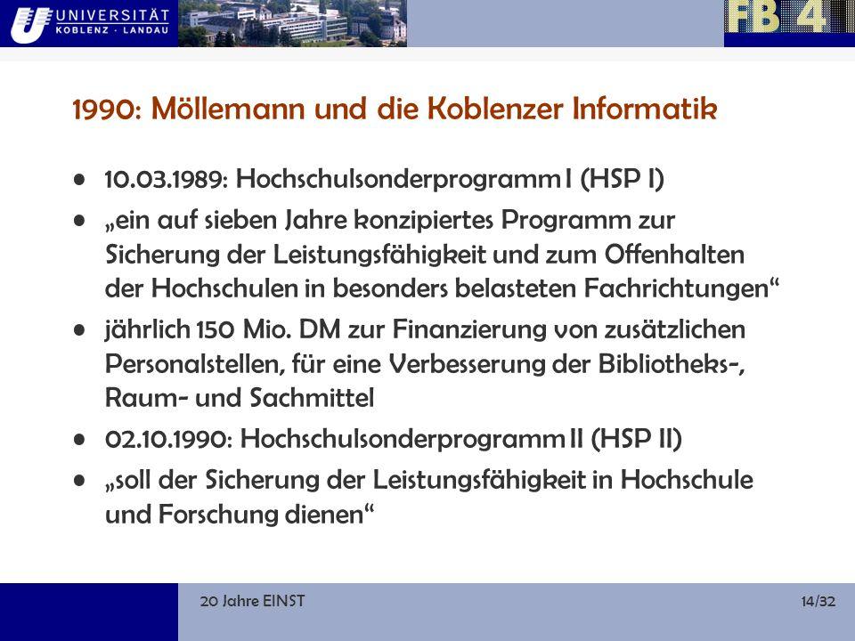 20 Jahre EINST14/32 1990: Möllemann und die Koblenzer Informatik 10.03.1989: Hochschulsonderprogramm I (HSP I) ein auf sieben Jahre konzipiertes Programm zur Sicherung der Leistungsfähigkeit und zum Offenhalten der Hochschulen in besonders belasteten Fachrichtungen jährlich 150 Mio.
