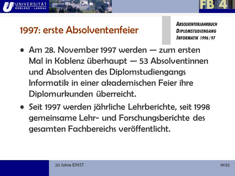 20 Jahre EINST19/32 1997: erste Absolventenfeier Am 28.