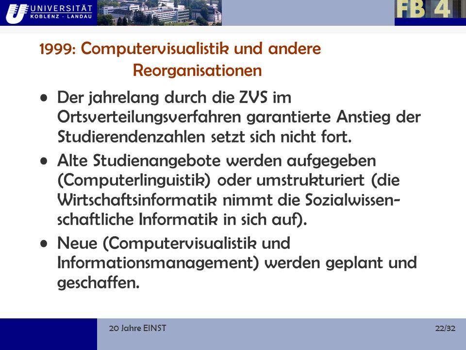 20 Jahre EINST22/32 1999: Computervisualistik und andere Reorganisationen Der jahrelang durch die ZVS im Ortsverteilungsverfahren garantierte Anstieg der Studierendenzahlen setzt sich nicht fort.