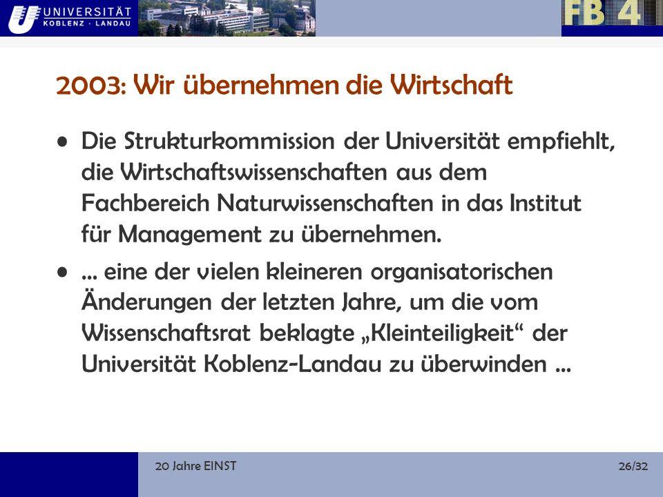 20 Jahre EINST26/32 2003: Wir übernehmen die Wirtschaft Die Strukturkommission der Universität empfiehlt, die Wirtschaftswissenschaften aus dem Fachbereich Naturwissenschaften in das Institut für Management zu übernehmen.