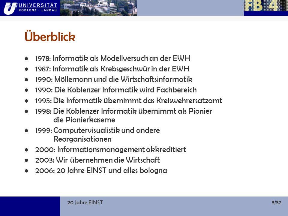 20 Jahre EINST24/32 1995–2003: Steigende Drittmitteleinnahmen, mehr Forschung JahrDrittmittel FB 4Drittmittel Uni ges.Anteil FB 4 1995694,386.02..