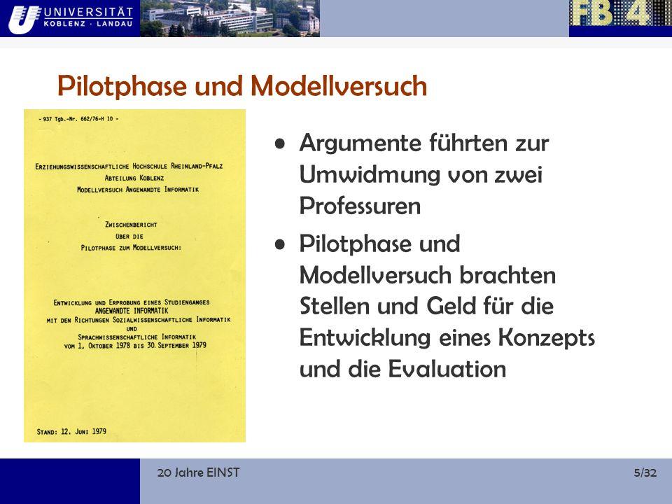 20 Jahre EINST5/32 Pilotphase und Modellversuch Argumente führten zur Umwidmung von zwei Professuren Pilotphase und Modellversuch brachten Stellen und Geld für die Entwicklung eines Konzepts und die Evaluation