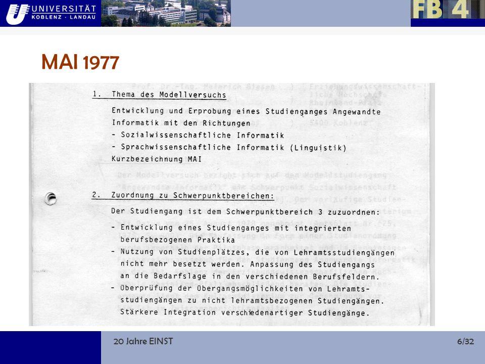 20 Jahre EINST6/32 MAI 1977