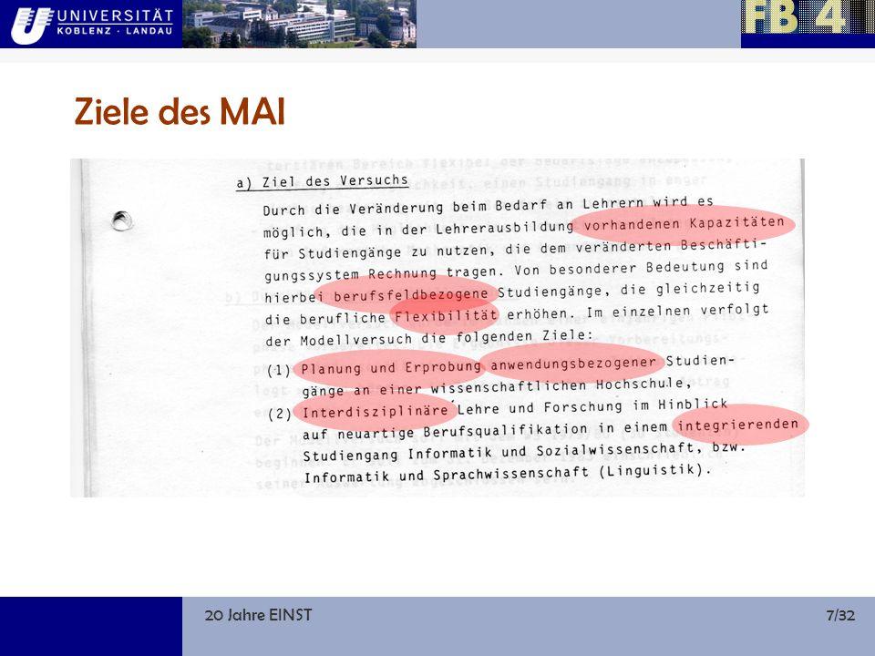 20 Jahre EINST18/32 1995: Informatik im Kreiswehrersatzamt … vom Möllemann-Programm profitiert auch die Koblenzer Informatik trotz stagnierender Studierendenzahlen ist die räumliche Kapazität ausgeschöpft Anmietungen sind die Folge, nicht nur für die Informatik, sondern auch für andere Fächer