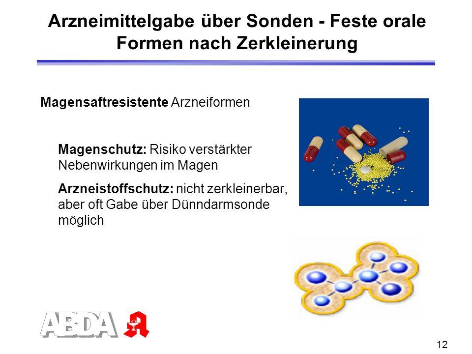 12 Arzneimittelgabe über Sonden - Feste orale Formen nach Zerkleinerung Magensaftresistente Arzneiformen Magenschutz: Risiko verstärkter Nebenwirkunge
