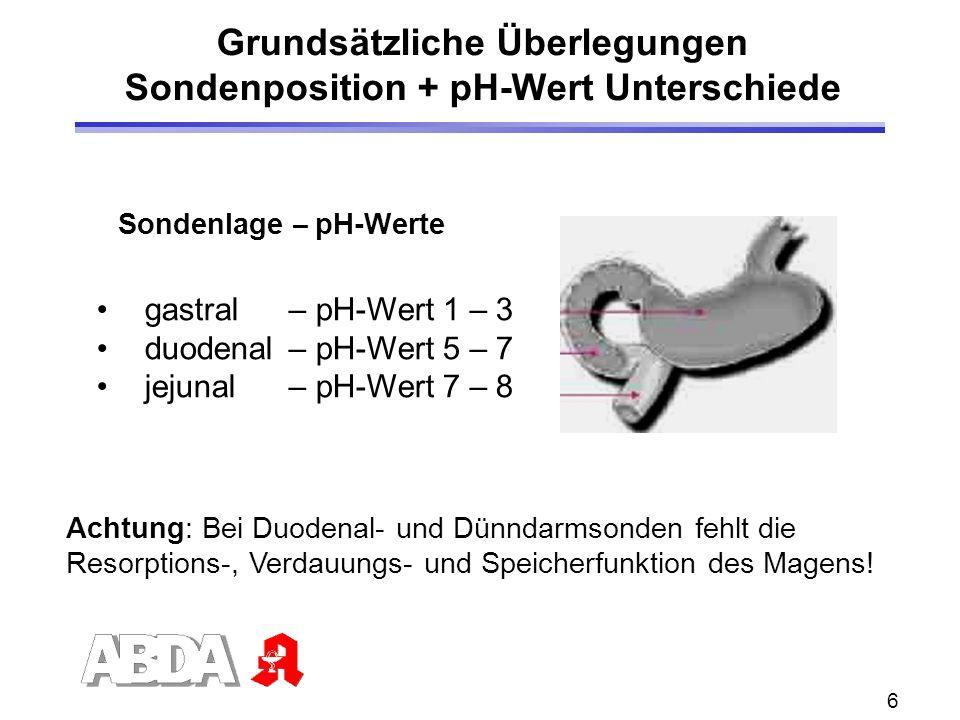 6 Grundsätzliche Überlegungen Sondenposition + pH-Wert Unterschiede Sondenlage – pH-Werte gastral– pH-Wert 1 – 3 duodenal– pH-Wert 5 – 7 jejunal– pH-Wert 7 – 8 Achtung: Bei Duodenal- und Dünndarmsonden fehlt die Resorptions-, Verdauungs- und Speicherfunktion des Magens!
