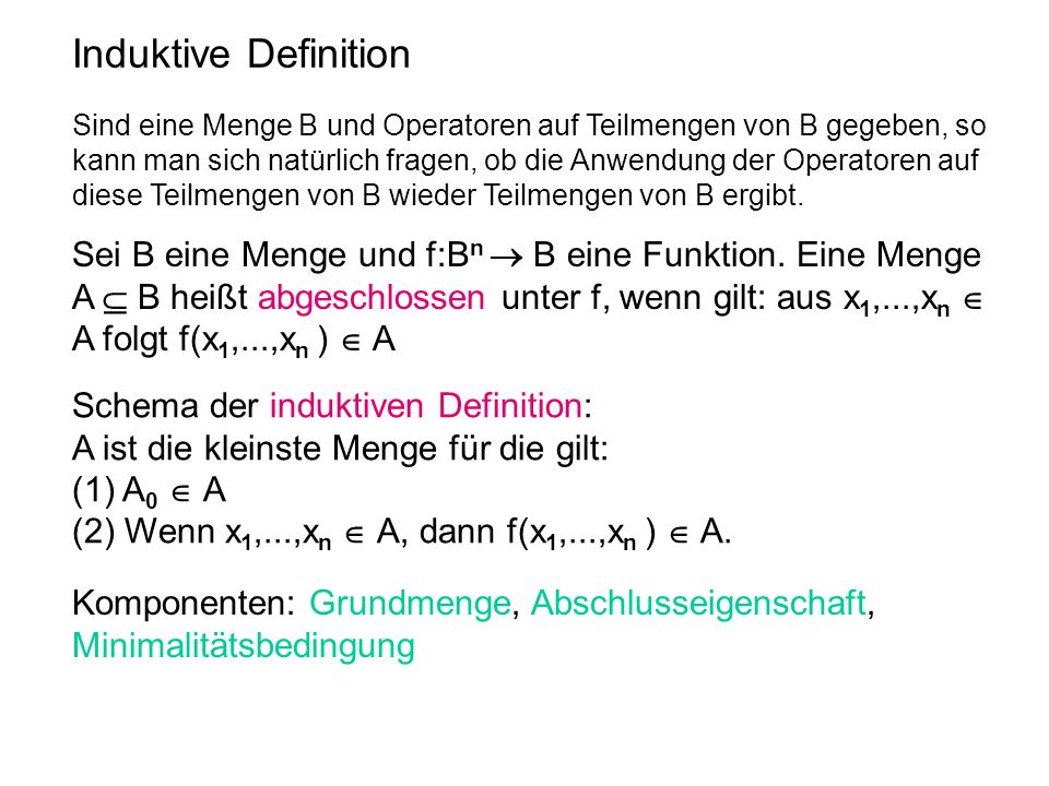 Induktive Definition Schema der induktiven Definition: A ist die kleinste Menge für die gilt: (1) A 0 A (2) Wenn x 1,...,x n A, dann f(x 1,...,x n ) A