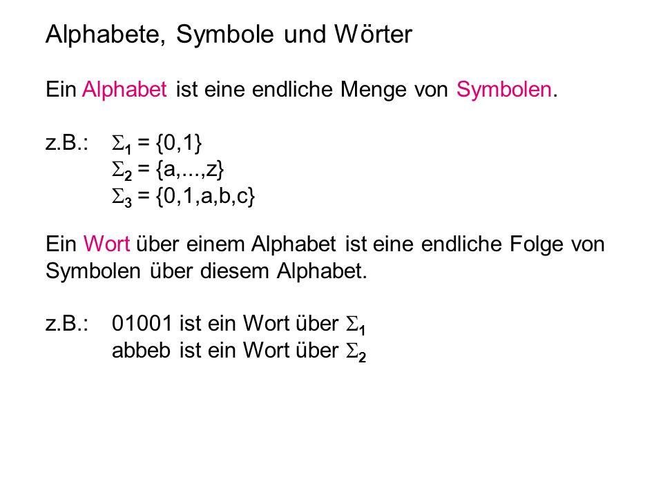 Alphabete, Symbole und Wörter Ein Alphabet ist eine endliche Menge von Symbolen. z.B.: 1 = {0,1} 2 = {a,...,z} 3 = {0,1,a,b,c} Ein Wort über einem Alp