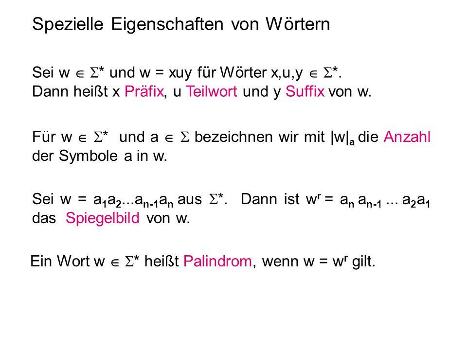 Spezielle Eigenschaften von Wörtern Für w * und a bezeichnen wir mit |w| a die Anzahl der Symbole a in w. Ein Wort w * heißt Palindrom, wenn w = w r g