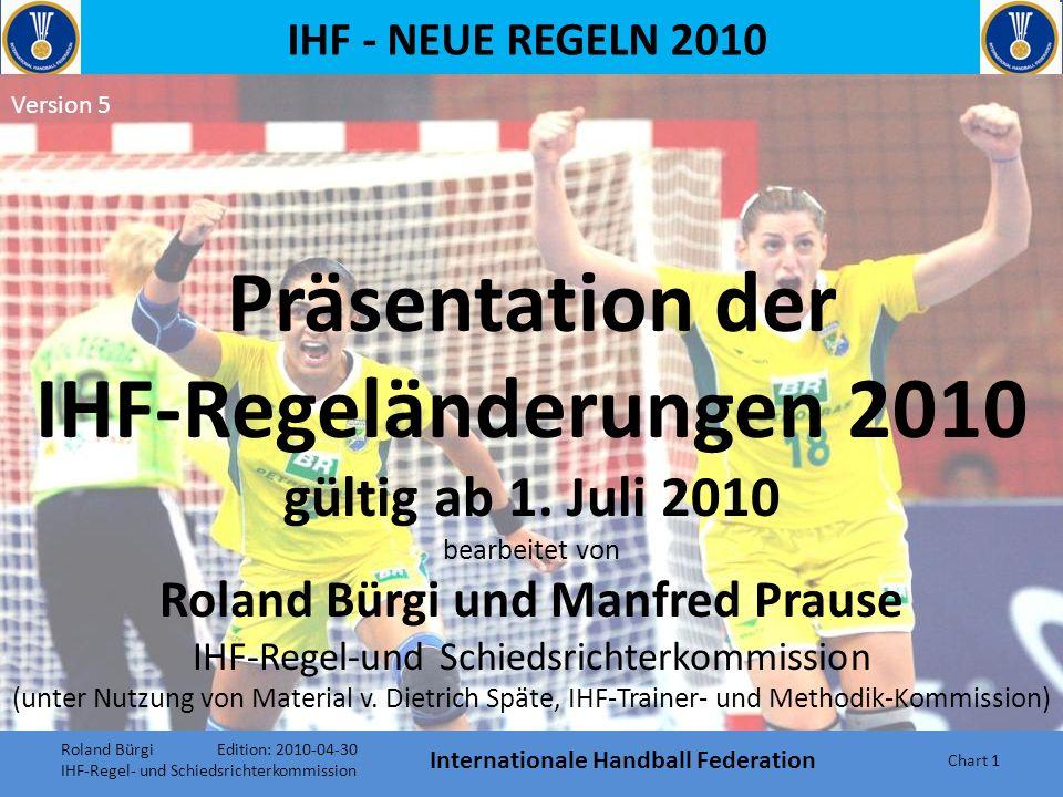 IHF - NEUE REGELN 2010 Internationale Handball Federation Chart 61 Regel 13:5 13:5 Wenn eine Freiwurf-Entscheidung gegen die Mannschaft gegeben wird, die beim Pfiff des Schiedsrichters in Ballbesitz ist, muss der Spieler, der den Ball zu diesem Zeitpunkt hat, diesen umgehend an der Stelle auf den Boden fallen lassen oder niederlegen, so dass er spielbar ist.