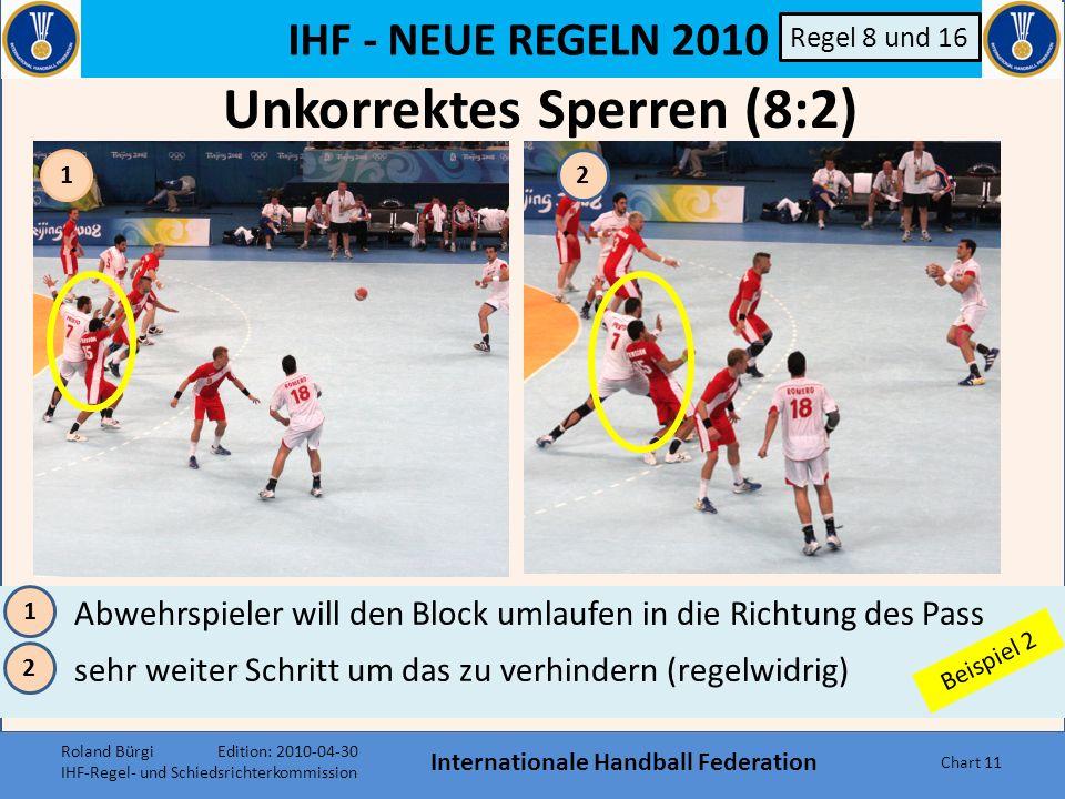 IHF - NEUE REGELN 2010 Internationale Handball Federation Chart 10 Regel 8 und 16 34 Die Beinsperre und das Halten des Armes sind Regelwidrigkeiten Regelwidrigkeit bedeutet unkorrekter Vorteil für Angreifer 3 4 Beispiel 1 Unkorrektes Sperren (8:2) Roland Bürgi Edition: 2010-04-30 IHF-Regel- und Schiedsrichterkommission