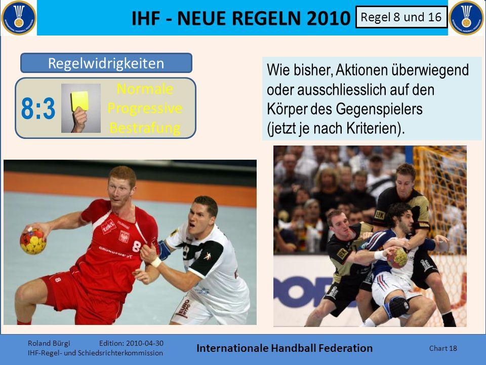IHF - NEUE REGELN 2010 Internationale Handball Federation Chart 17 Regelwidrigkeiten 8:4 Direkte 2- Minuten Strafe 8:3 Normale Progressive Bestrafung